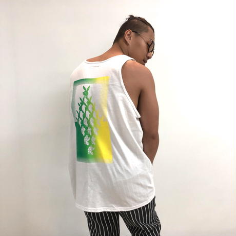 SLOW BUT STEADY GRADATION TANKTOP (White / Green-Yellow)