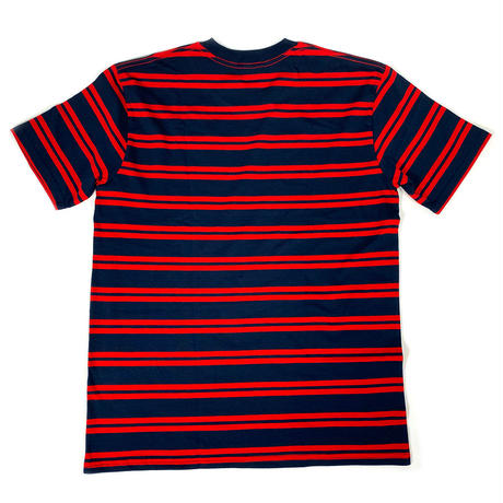 """SIMPLE LOGO"" BORDER S/S TEE ( NAVY / RED )"