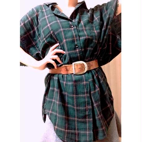 《World Series Vol.3》forte Cut Off Check Shirts 《Scotch》-Green