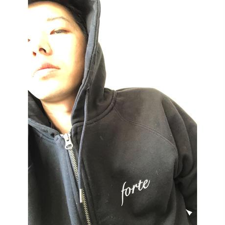 forte×Alice Korotaeva Organic Zip Up Hoodie(Black)裏起毛