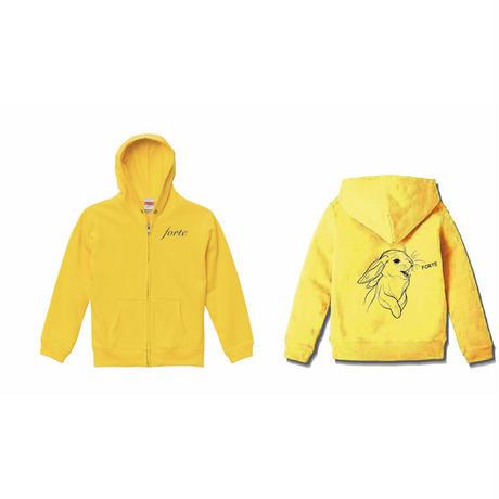 forte×Alice Korotaeva 3rd Collection - Usagisann ZipUp Hoodie(Yellow)
