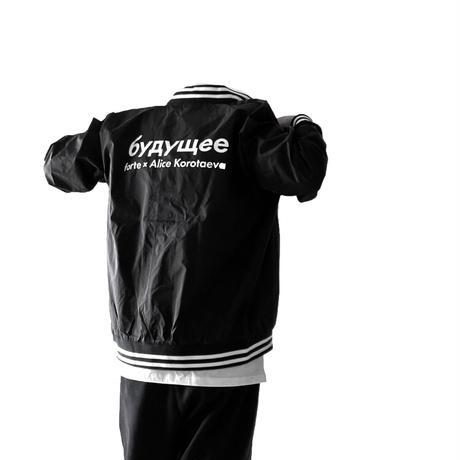 "forte × Alice Korotaeva Essentials ""Future""Stadium Jacket(Black)"