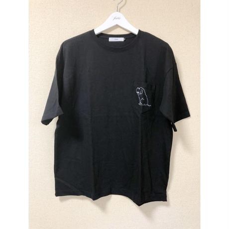 "forte ""Dog"" BIG Silhouette Pocket T-shirts(Black)"