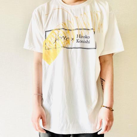 """【オーダーペインティング】forte×Hiroko Konishi Collaboration """"絵を着る"""" Organic T-Shirts(Stone Wash White)"""