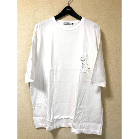 "forte ""Dog"" BIG Silhouette Pocket T-shirts(White)"