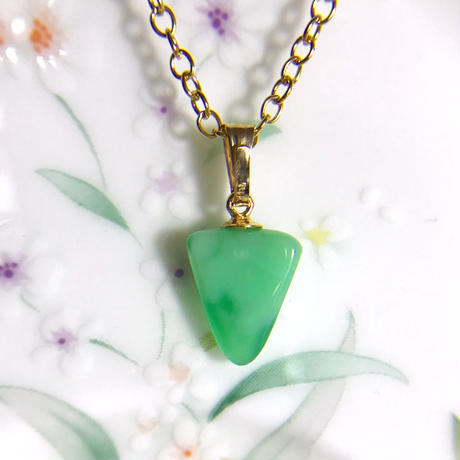 SALE!天然クリソプレーズ14kgfネックレス1.99ct☆☆原石から磨きました