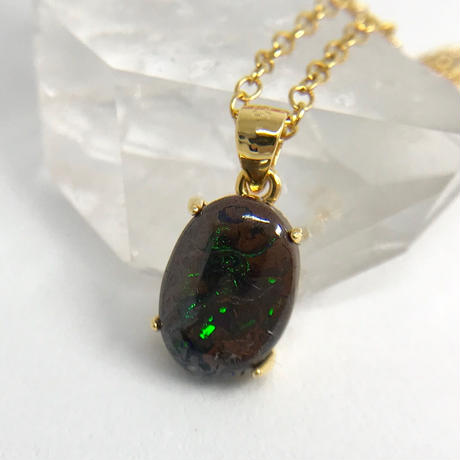 天然アイアンオパール14kgfネックレス2.87ct☆ オーストラリア・ヤワー産の原石から磨きました