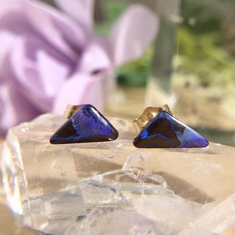天然ボルダー(アイアン)オパール14kgfピアス☆オーストラリア・Yowah産原石から磨いた1点もの!