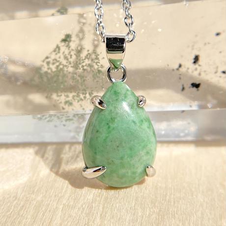 天然翡翠シルバーネックレス3.88ct☆ ミャンマー産の原石から磨きました!
