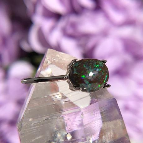 天然アイアンオパールシルバーリング1.32ct(7,9,11,13,14号)☆ Queensland,Yowah産の原石から磨きました!