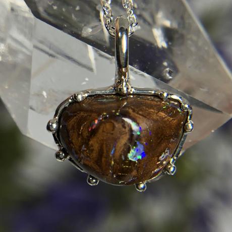 天然ボルダーオパールシルバーネックレス5.96ct オーストラリア・Yowah産原石から磨いた1点もの!