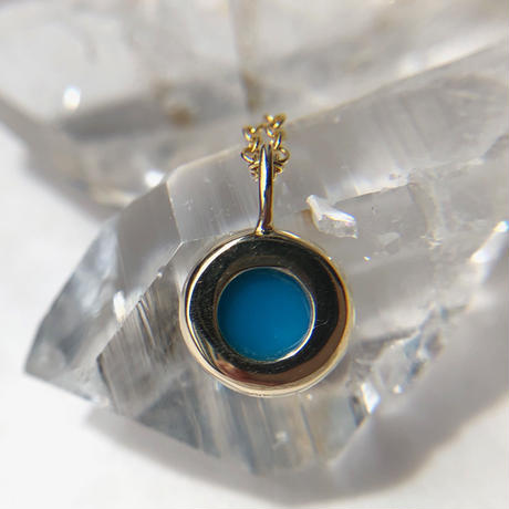 K10天然トルコ石(ターコイズ)ネックレス1.55ct☆アリゾナ州スリーピングビューティー産原石から磨いた1点もの!