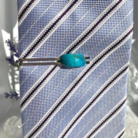 天然トルコ石(ターコイズ)ネクタイピン10.22ct☆ アリゾナ州・キングマン産原石から磨きました!