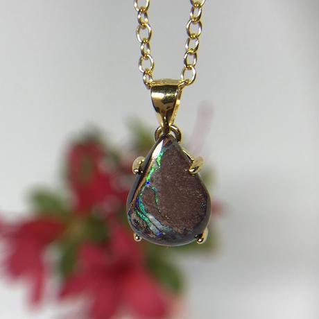 天然アイアンオパール14kgfネックレス3.14ct☆ オーストラリア・ヤワー産の原石から磨きました