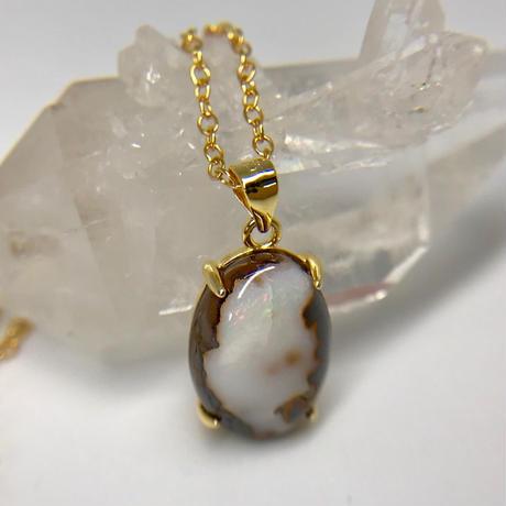 天然アイアンオパールネックレス5.13ct☆ オーストラリア・ヤワー産の原石から磨きました