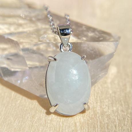天然翡翠シルバーネックレス4.72ct☆ミャンマー産の原石から磨きました!