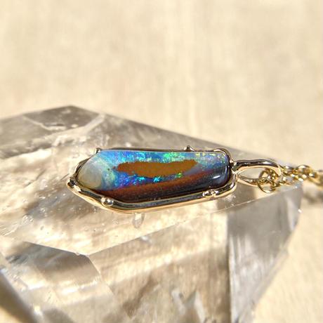 K10☆天然アイアンオパールネックレス2.32ct☆オーストラリア・Yowah産の原石から磨いた1点もの!