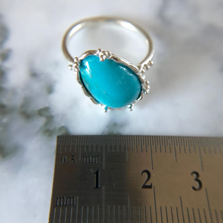 天然トルコ石純銀リング5.64ct|12〜16号☆キングマン産原石から磨いた1点もの