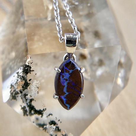 天然ボルダーオパールシルバーネックレス0.83ct☆オーストラリアYowah産の原石から磨きました!