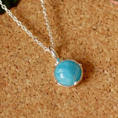 天然ヘミモルファイト純銀(SV1000)ネックレス2.72ct☆原石から磨いた1点もの