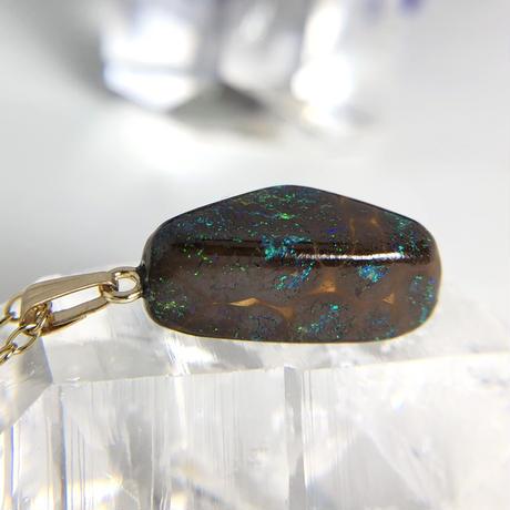 天然ボルダーオパール14kgfネックレス9.08ct☆ オーストラリア・ヤワー産の原石から磨きました