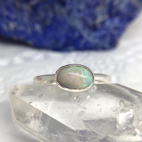 値下げしました!天然オパール純銀リング0.57ct|10号☆オーストラリア・クーバーペディ産原石から磨いた1点もの!