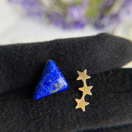 天然ラピスラズリとお星さまの14kgfピアス☆原石から磨いた1点もの!