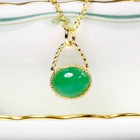 アップルグリーン色がキレイ!天然クリソプレーズゴールドネックレス4.73ct☆原石から磨いた1点もの