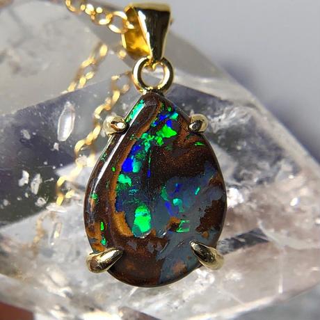 天然ボルダー(アイアン)オパール14kgfネックレス2.83ct☆オーストラリア・Yowah産の原石から磨きました!
