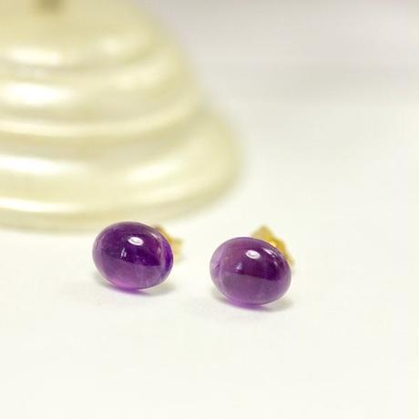 天然アメジストピアス 14KGF☆紫色がキレイ