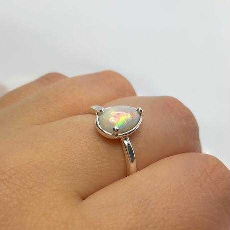 天然オパール1.45ct純銀リング(16号)オーストラリア・ライトニングリッジ産原石から磨きました☆