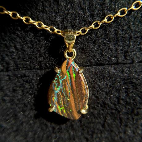天然ボルダー(アイアン)オパール14kgfネックレス3.11ct☆オーストラリア・Yowah産の原石から磨きました!