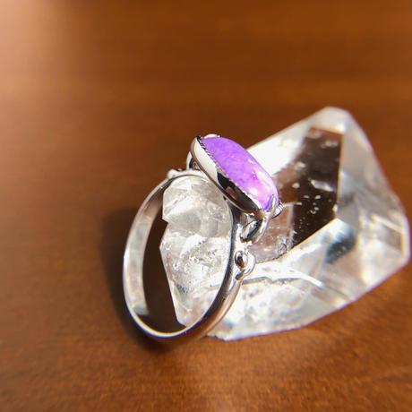 12号 天然スギライトシルバーリング2.58ct 南アフリカ産の原石から磨いた1点もの!