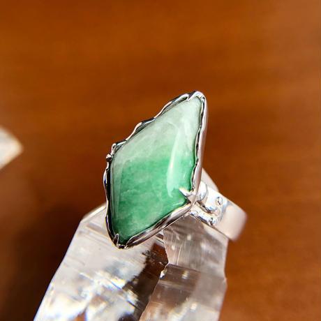 9号☆天然翡翠シルバーリング7.16ct☆ミャンマー産の原石から磨いた1点もの!