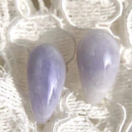 天然ラベンダー翡翠14kgfピアス☆青海産原石から磨いた1点もの!