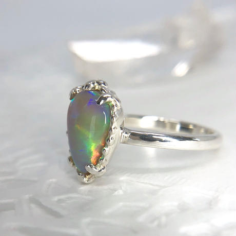 天然オパール2.32ct純銀リング(13号)オーストラリア・ライトニングリッジ産原石から磨いた1点もの