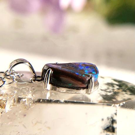 天然ボルダー(アイアン)オパールシルバーネックレス1.90ct☆オーストラリア・Yowah産の原石から磨きました!