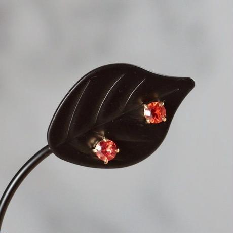 天然オレンジサファイアK18ピアス☆0.44ct|タイ産