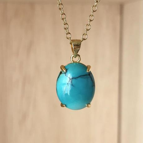 天然トルコ石(ターコイズ)ネックレス5.13ct☆ 中国産の原石から磨きました