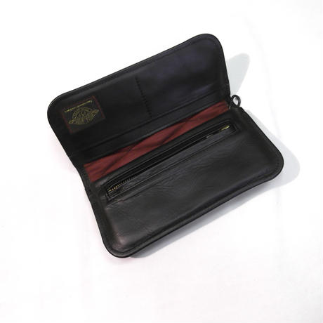 CowHide Padded Wallet  Black Leather×Black Stitch