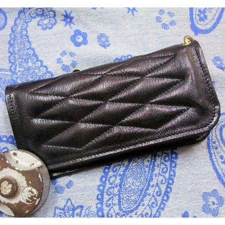 ALL GOAT SKIN Padded Wallet BLACK Leather×BLACK Stitch