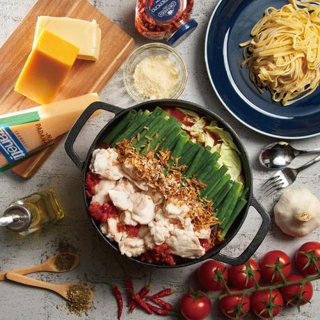 \\\ 追いチーズで2度旨い /// 極上生パスタで〆る国産牛もつ鍋-チリトマト味-(2~3人前)カット野菜付ミールキット