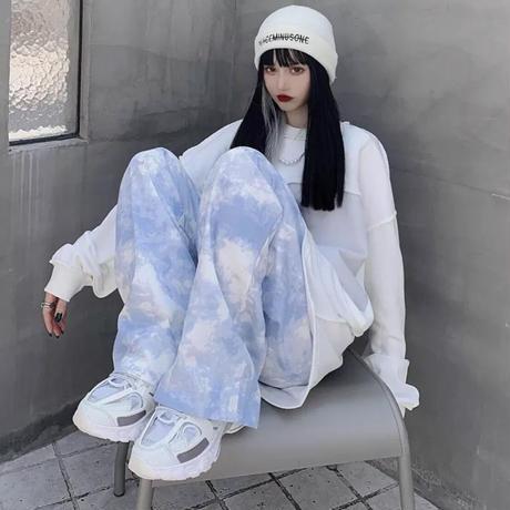 寒色青空イージーパンツ