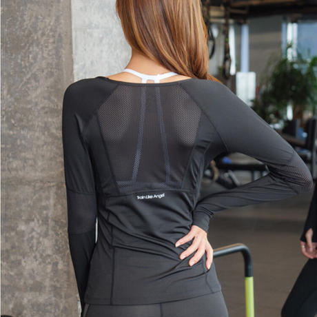 メッシュパネル長袖Tシャツ CXM015