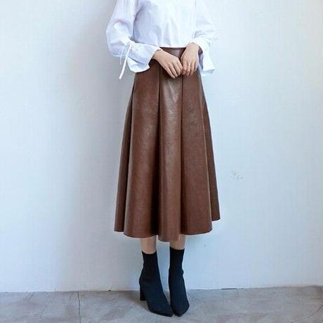 フェイクレザーフレアスカート KS88