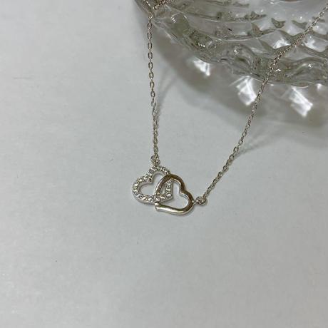 silver925製ダブルハートジルコニアネックレス〈a-n-259〉【メール便送料無料】