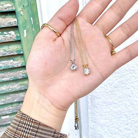 ステンレス製4爪キュービックジルコニアネックレス・2色(a-n-302)【メール便送料無料】
