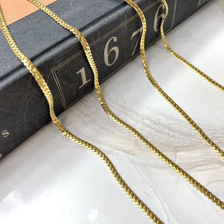 ステンレス製フラットリンクチェーンゴールドネックレス・40cm/50cm(a-n-271)