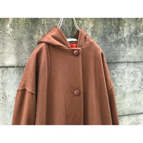 80s wool hooded coat ブラウン USA製 表記14
