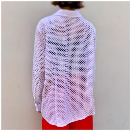 【レディース】1990s コットンブレンドメッシュシャツ